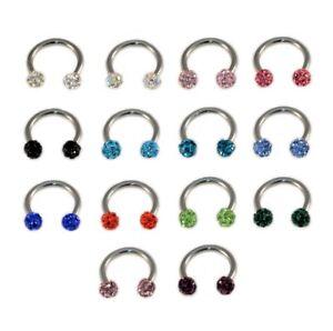 Ferido Crystal SHAMBALLA Horseshoe Bar Circular Barbell Lip Nose Septum Ring
