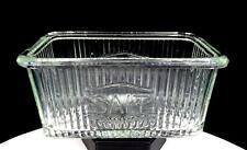 "HOOSIER CABINET GLASS VINTAGE RIBBED RECTANGULAR 6 3/4"" SALT BOX 1930's"