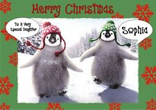 personalised Christmas card Penguin Any name/relation