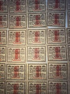 100 Single Vintage Brown & Williamson B & W Tobacco Tickets Raleigh & Belair