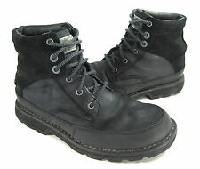SKECHERS MEN'S OCTOBER ANTON LACE-UP BOOTS BLACK LEATHER US SIZE 8.5 MEDIUM (D)M