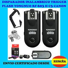 2x DISPARADOR FLASH YONGNUO RF603-II C3 CANON 1D 5D II 6D 7D 50D 40D 30D 20D 10D