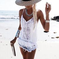 Women Blouse Sleeveless Lace Chiffon Summer T-Shirt Blouse Vest Casual Tank Tops