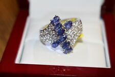 Blue Sapphire Cambodian Zircon Platinum Over Silver Ring Size 10 TGW 4.30 ct