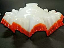 Mid Century French Milk Glass Ruffled Orange Rim Shade Ceiling Pendant Light