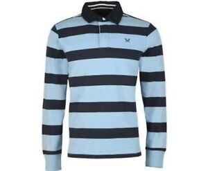 BRAND NEW CREW CLOTHING ICE BLUE AND NAVY RUGBY TOP SIZE MEDIUM RRP £65