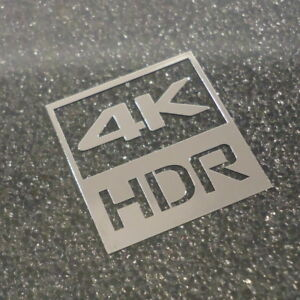 4K HDR Metal Chrome Label / Aufkleber / Sticker / Badge / Logo 20 x 20mm [430]