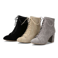 Women Side Zip Ankle Boots Pointed Toe Chunky Heel Lace Up Fashion Suede Booties