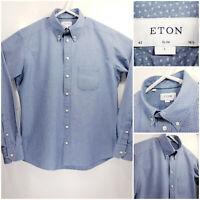 ETON Slim Mens 16.5 42 Large Long Sleeve Button Up Blue White
