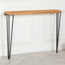 Rustic Console Table Narrow Metal Hairpin Legs Industrial Wooden Hallway Table