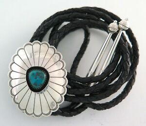 Sterling Silver & Turquoise Shadowbox Sunburst Concho Style Bolo Tie