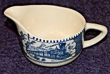 Currier Ives Royal China Blue and White Creamer Express Train EXCELLENT!