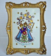 Old Vintage Brass Standing Frame with Madonna Child Enamel Picture