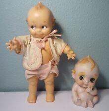 2 Vintage Kewpie Dolls - ©Cameo JLK & All Bisque Blue Winged Kewpie - Super Cute
