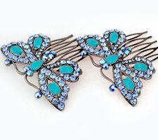 2Pcs Butterfly Blue Austrian Rhinestone Cystal Hair Side Combs Barrette B132b