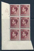 Sg 459c 1½d Edward VIII A 36 Cylinder Block - 2 No Dot UNMOUNTED MINT/MNH