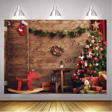 Rustic Wood Board Backdrop Xmas Tree Christmas Eve Party Decor Photo Background