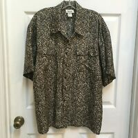 Cezar Animal Print Shirt Size XL washable Silk Button Down Short Sleeves