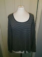 Seasalt organic cotton navy blue striped long sleeved top size 14