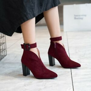 Women High Block Heel Ankle Buckle Boots Fashion Black Pointy Toe Party Boots AU