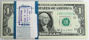1969 D $1 FEDERAL RESERVE $100 FV CONSECUTIVE 100 NOTE BUNDLE CRISP UNC PACK