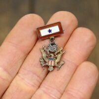 Vintage WWII Sweetheart Pin Sterling Military Emblem Hat Jacket Lapel Badge