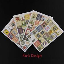 4 Sheets of Vintage Paris sticker stamps for Crafts, Scrapbooking etc