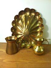 Large Vintage Scalloped Pattern Brass Tray Platter & 2 Brass Pitchers Lot