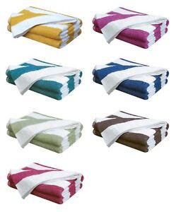 100% Cotton Pool Towels Chlorine Resistant Striped Holiday Beach Bath Health Spa