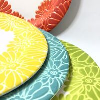 Laurie Gates Flora Melamine Round Dinner Plates Set of 8
