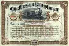 1892 Ohio & Mississippi RW Stock Certificate