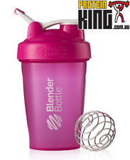 BLENDER BOTTLE CLASSIC 590mL PINK SHAKER PROTEIN MIXER CUP W CARRY LOOP