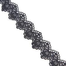 3 Yd Off White/Black Flower Lace Trim Edge Wedding Ribbon Sewing Trimming Craft