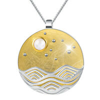 Unique 18k Gold Wave Genuine 925 Sterling Silver Round Moonlight Pendant Jewelry