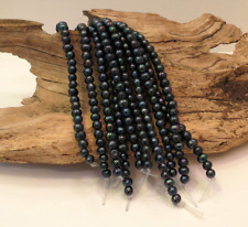 Dark Blue Pearls - LARGE HOLE Beads - 7-8mm - 8 Inch Strand - 2.5mm Hole