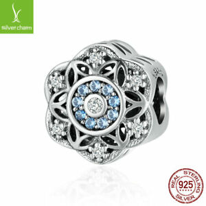 Authentic 925 Sterling Silver Christmas Snowflake Dazzling Blue CZ Beads charm