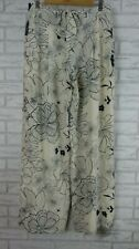 RAOUL Pants Sz UK12 BNWT White, Black floral print 100% silk