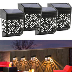 4 X LED SOLAR FENCE & WALL LIGHTS GARDEN SECURITY OUTDOOR POST STEP STYLISH UK