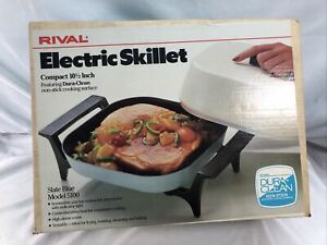VINTAGE NOS Rival Electric Skillet Slate Blue Model 5100 SEALED BOX Rare 10 1/2""