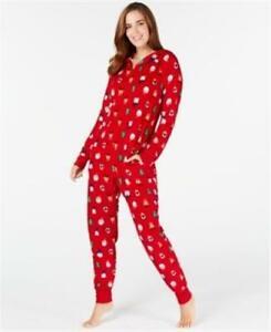 Family Pajamas Womens Santa Friends Red Fleece Pajama Zip Up Hooded XL