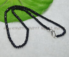 """Fashion 2x4mm  Black Agate Faceted Roundel Gems Beads Necklace Silver Clasp 18"""""""