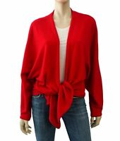 SHIRIN GUILD Dolman Sleeve Red Cashmere Knit Tie Front Sweater L
