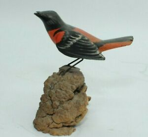 Vintage Carved Wood Bird Cardinal --Signed