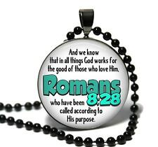Romans 8:28 Glass Top Pendant Necklace Handmade Religious Bible Scripture Jewelr