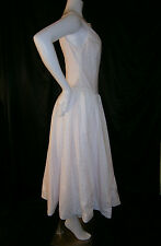 FANCY NY VTG INSPIRED WHITE PINK TEA LENGTH 6 WEDDING GOWN DRESS EYELET LACE