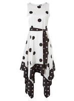 Brand New Ex Chainstore Ivory Spot Hanky Hem Fit and Flare Occasion Dress Size 1
