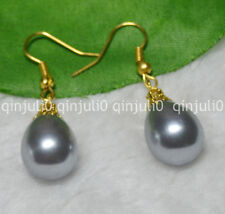 12x16mm Grey South Sea Shell Pearl Yellow Gold Plated Hook Earrings JE82