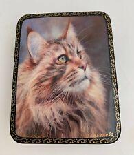 New ListingRussian Fedoskino Lacquer Box A Cat Portrait