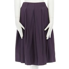 BOTTEGA VENETA purple virgin wool blend pleated flared knee length skirt IT38 XS