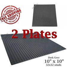 For LEGO, 2 Dark Grey 10x10-inch 32x32-stud Brick Building Base Plates * NEW *